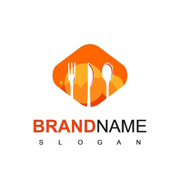 Restaurant logo vector mit löffel, gabel und messer-schattenbild-symbol Premium Vektoren