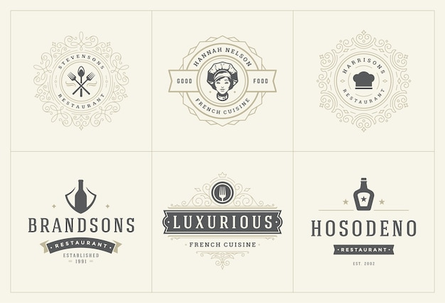 Restaurant logos vorlagen set illustration gut für menüetiketten und café-abzeichen. Premium Vektoren