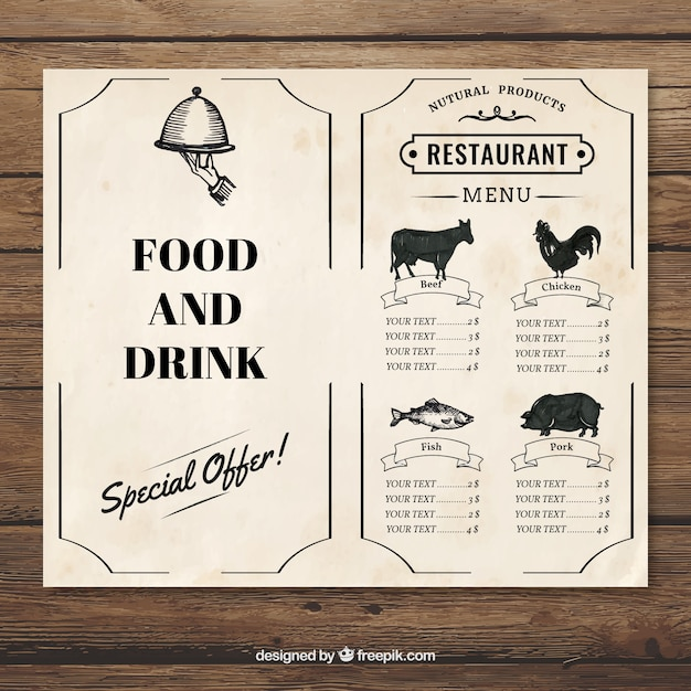 Restaurant Menü-Jahrgang Schablone | Download der kostenlosen Vektor