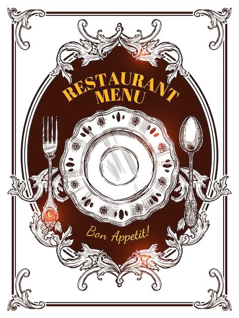 Restaurant menü jahrgang abdeckung Kostenlosen Vektoren