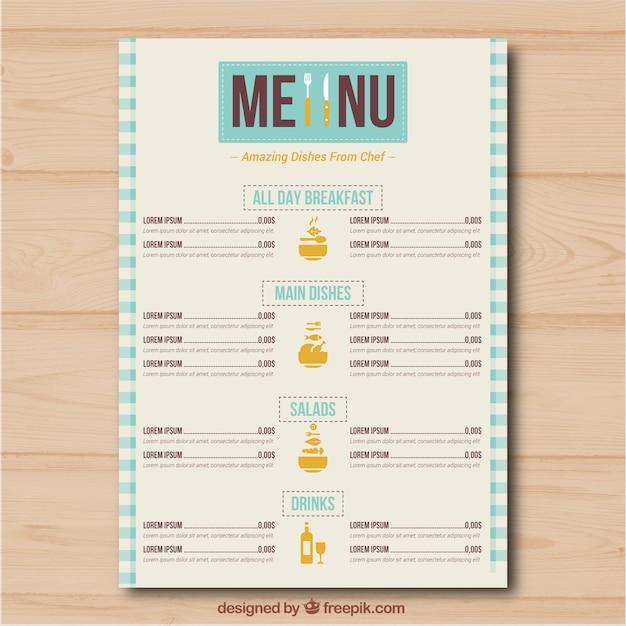 Restaurant-menü mit verschiedenen kategorien Kostenlosen Vektoren