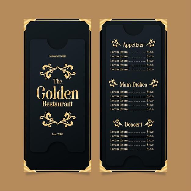 Restaurant menüvorlage golden mit schwarz Kostenlosen Vektoren