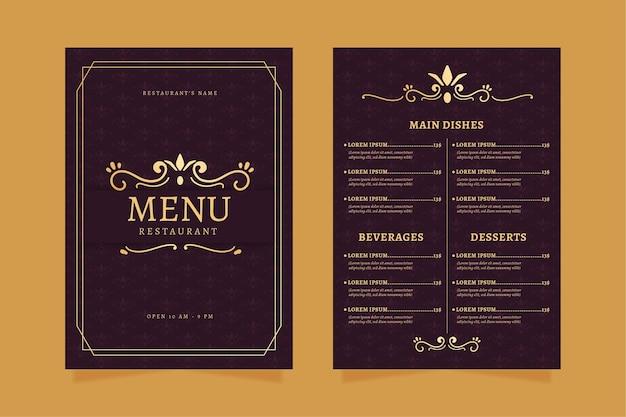 Restaurant menüvorlage golden mit violett Kostenlosen Vektoren