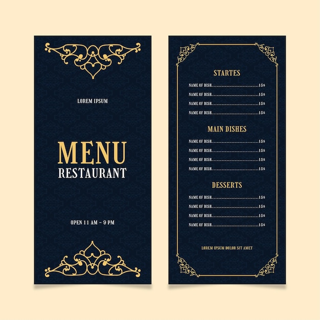 Restaurant menüvorlage golden Kostenlosen Vektoren