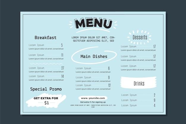 Restaurant menüvorlage mit bunten stil Kostenlosen Vektoren