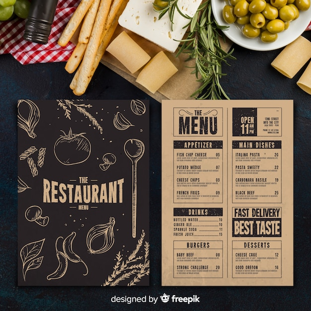 Restaurant Menüvorlage Kostenlose Vektoren