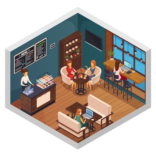 Restaurant-pizzeria-bistro-kantine der internet-caféinnenraum-isometrischen zusammensetzung von besuchern, die wi-fi auf geräten verwenden, vector illustration Kostenlosen Vektoren