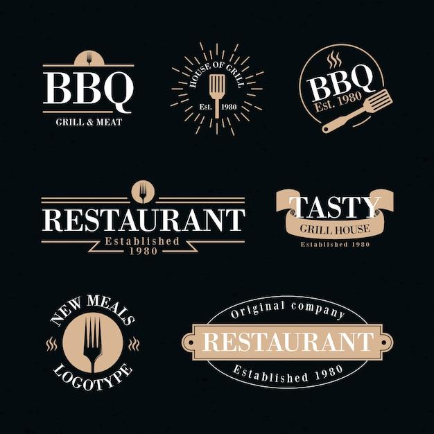 Restaurant retro-logo-auflistung Kostenlosen Vektoren