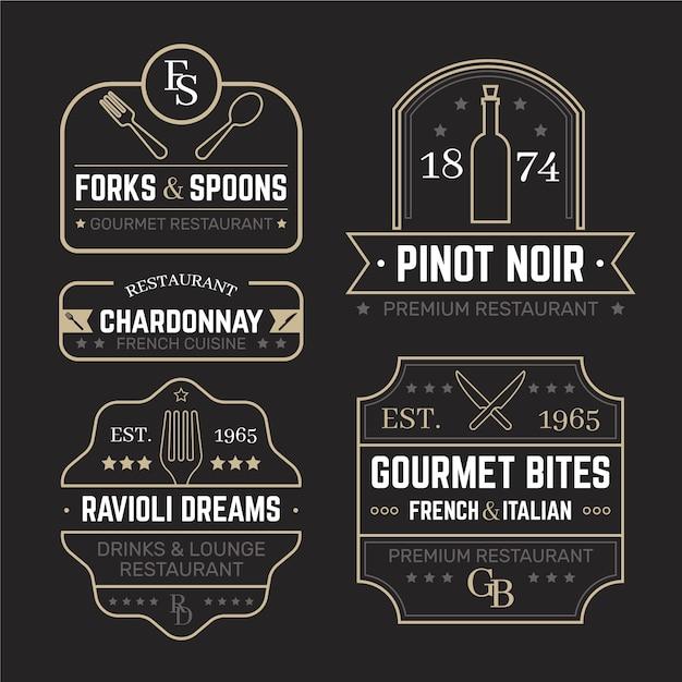 Restaurant retro-logo-vorlagen festgelegt Kostenlosen Vektoren