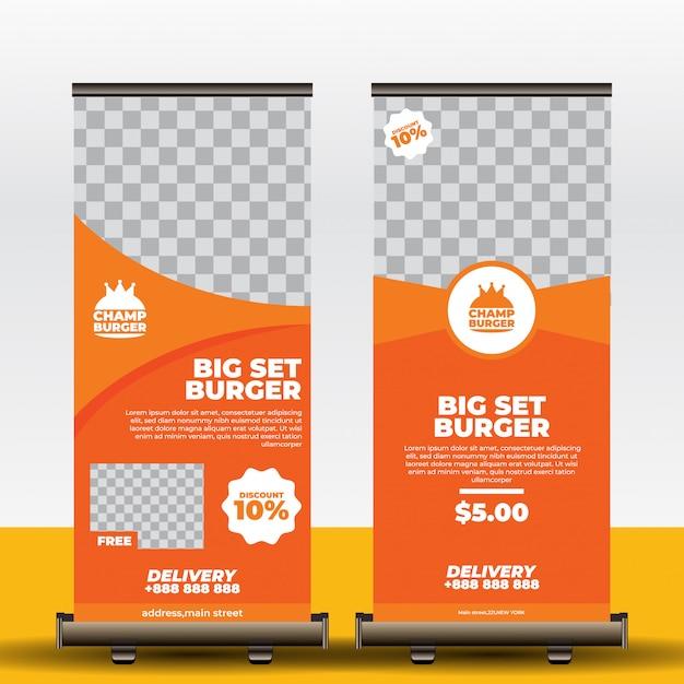 Restaurant roll up banner vorlage Premium Vektoren