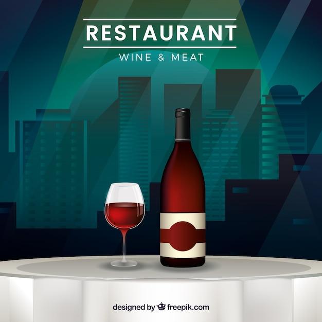 restaurant tisch hintergrund mit flasche wein und glas download der kostenlosen vektor. Black Bedroom Furniture Sets. Home Design Ideas