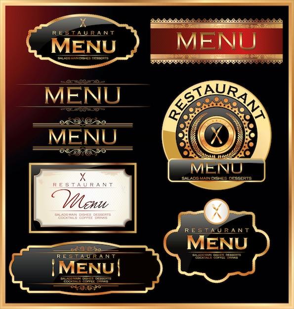 Restaurant- und café-etiketten Premium Vektoren
