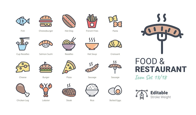 Restaurant-vektor-ikonensammlung Premium Vektoren