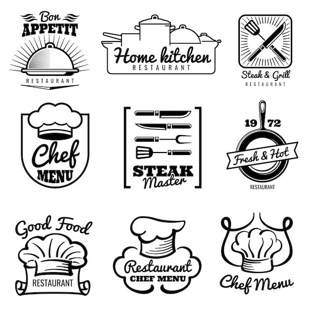 Restaurant vektor vintage logo. chef retro etiketten. kochen in küchenemblemen Premium Vektoren