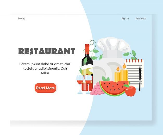Restaurant vektor website landing page banner vorlage Premium Vektoren