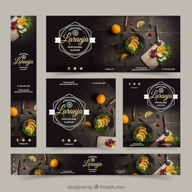 Restaurante banner mit food-fotografie Kostenlosen Vektoren