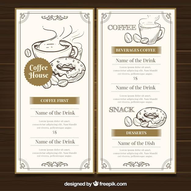 Restaurante-menüschablone mit kaffeestube Kostenlosen Vektoren