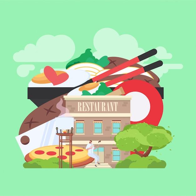 Restaurantgebäude mit lebensmittelbild im hintergrund Premium Vektoren