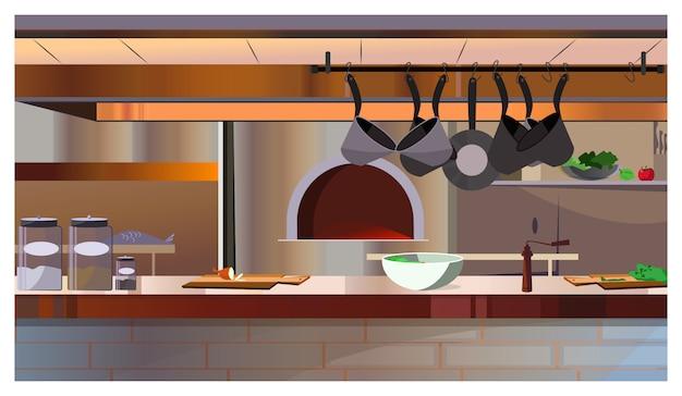 Restaurantküche mit ofen- und gegenillustration Kostenlosen Vektoren