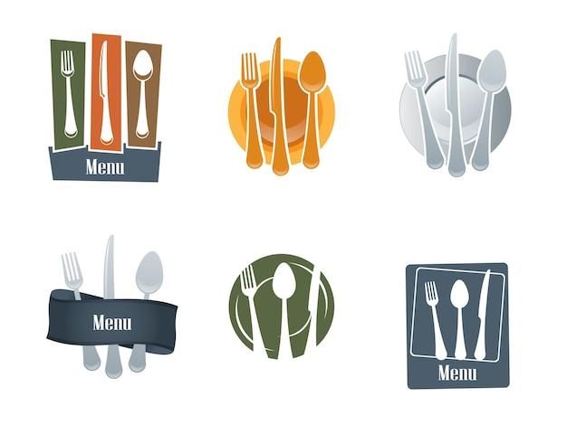 Restaurantlogo mit löffel und gabel Premium Vektoren