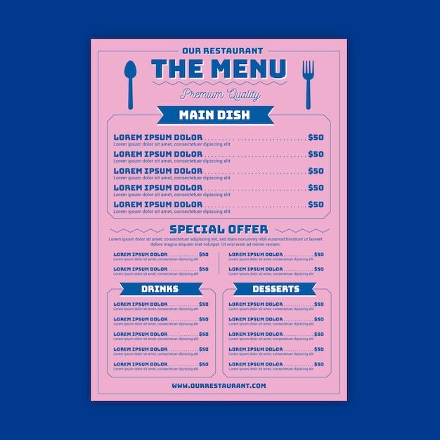 Restaurantmenü mit auswahlschablone Kostenlosen Vektoren