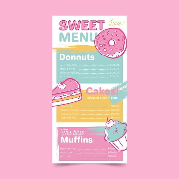 Restaurantmenü mit donuts-vorlage Kostenlosen Vektoren