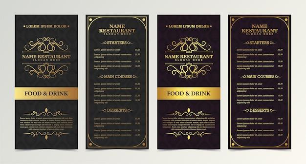 Restaurantmenü mit elegantem zierstil Premium Vektoren