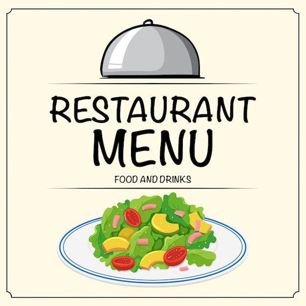 Restaurantmenü mit salat Kostenlosen Vektoren