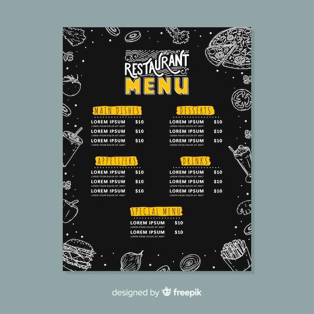 Restaurantmenü mit sonderangebot Kostenlosen Vektoren