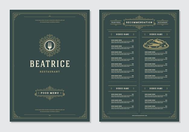 Restaurantmenüauslegung und aufklebervektorbroschürenschablone. Premium Vektoren