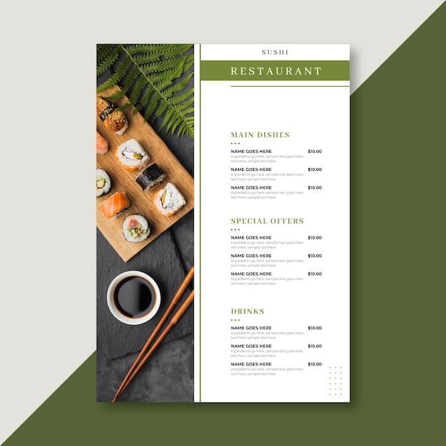 Restaurantmenüvorlage im vertikalen format Kostenlosen Vektoren