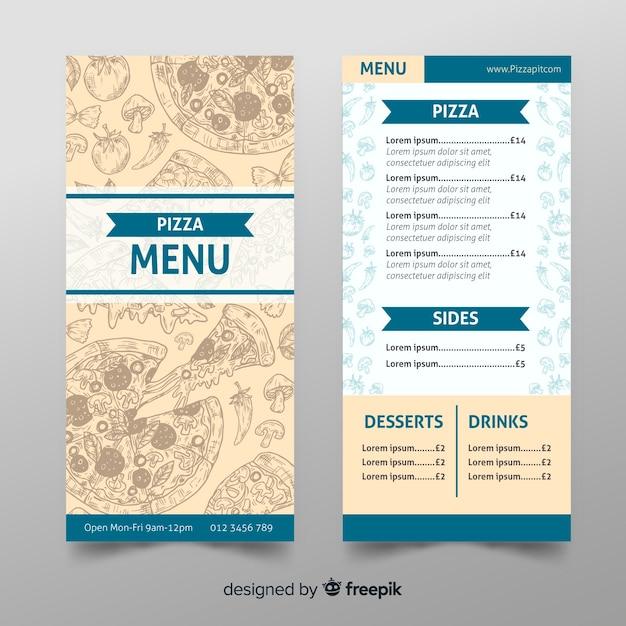 Restaurantpizzamenüschablone in der hand gezeichnet Kostenlosen Vektoren