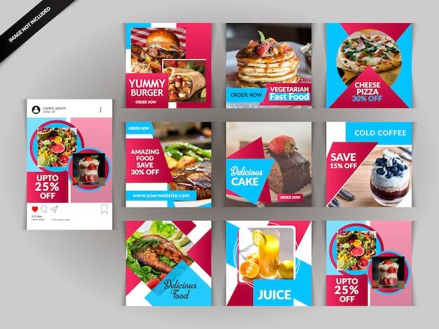 Restaurantpost für soziale medien Premium Vektoren