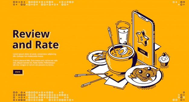 Restaurantpreis, kundenbewertung isometrisches banner Kostenlosen Vektoren