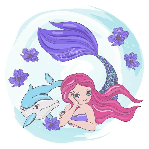 Restende meerjungfrau dolphin sea cartoon Premium Vektoren