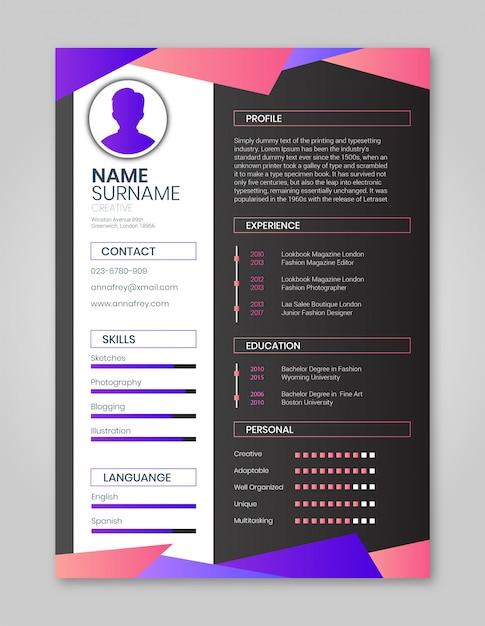Resume pink and purple einfach Premium Vektoren