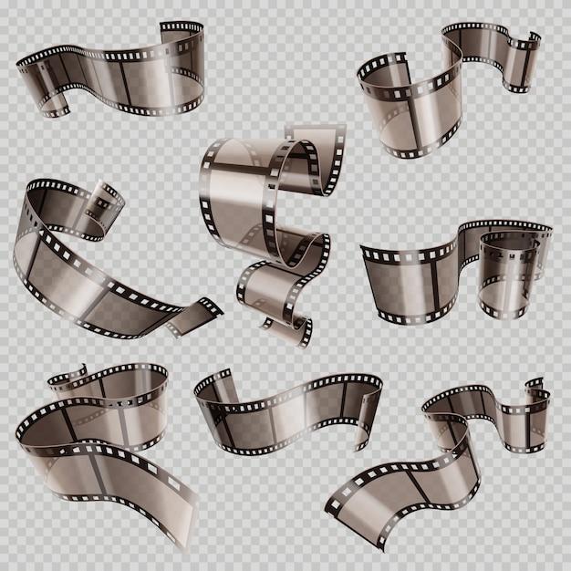 Retro 35mm foto- und filmfilmvektorsatz Premium Vektoren