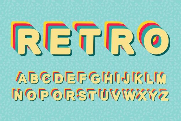 Retro 3d beschriftet effekt des alphabetes achtziger jahre Kostenlosen Vektoren