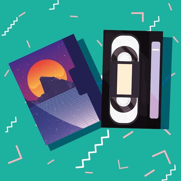 Retro 80er jahre stil Premium Vektoren