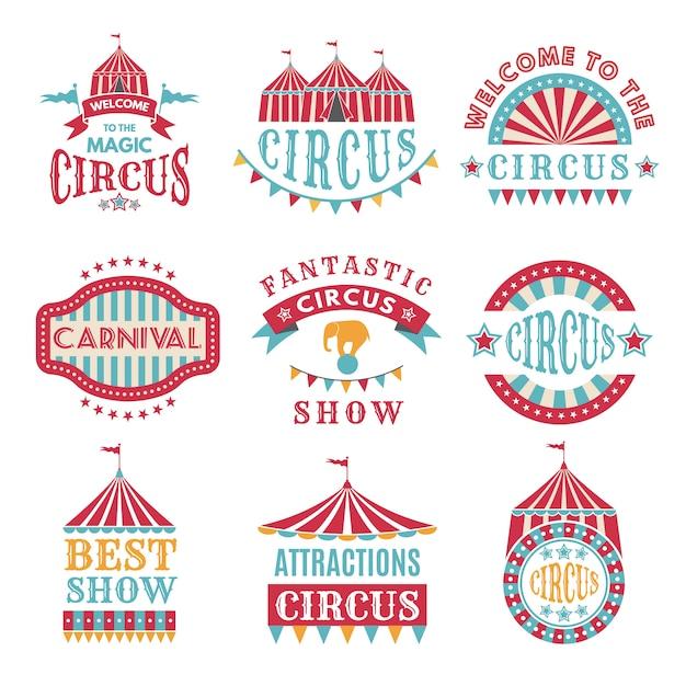 Retro-abzeichen oder logo für karneval und zirkus Premium Vektoren