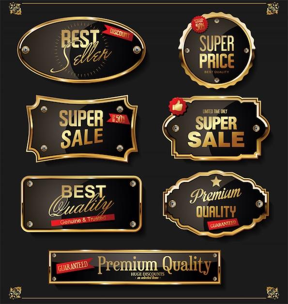 Retro abzeichen und etiketten-sammlung Premium Vektoren