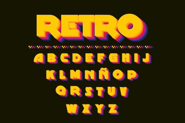 Retro- alphabet 3d Kostenlosen Vektoren