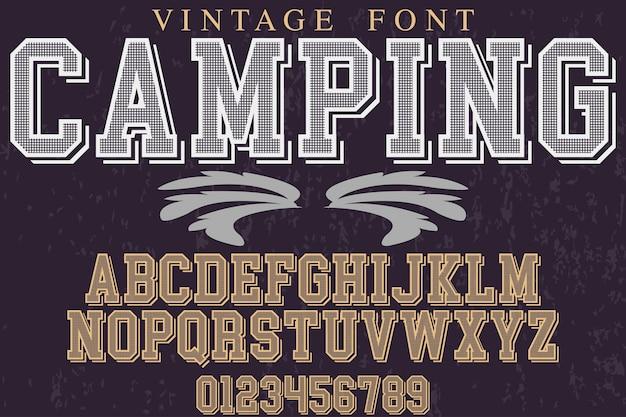 Retro alphabet label design camping Premium Vektoren