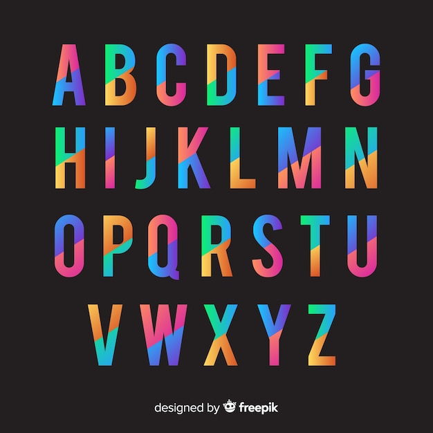 Retro alphabet vorlage farbverlaufsart Kostenlosen Vektoren
