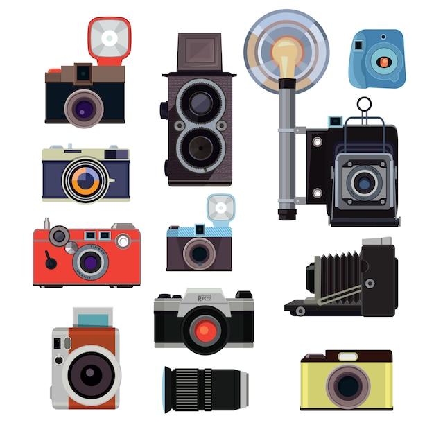 Retro alte kameras und symbole für fotografen. vektor flache bilder. illustration der digitalausrüstung des fotografen, fotofokus Premium Vektoren