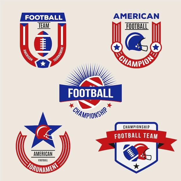 Retro american football abzeichen gesetzt Kostenlosen Vektoren