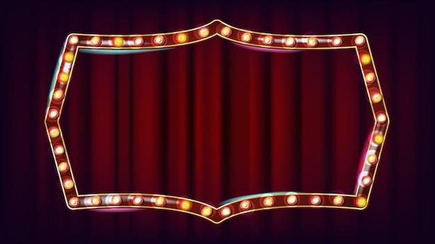 Retro anschlagtafel-vektor. leuchtendes licht-schild. elektrisches glühendes element 3d. weinlese-goldenes belichtetes neonlicht. karneval, zirkus, kasinoart. illustration Premium Vektoren