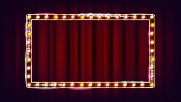 Retro anschlagtafel-vektor. leuchtendes licht-schild. realistischer scheinwerferrahmen. elektrisches glühendes element 3d. weinlese-goldenes belichtetes neonlicht. illustration Premium Vektoren