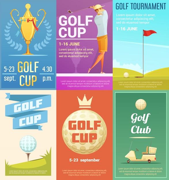 Retro art-plakatsammlung der golfclubanzeige mit goldpokal-turniersieger-trophäe Kostenlosen Vektoren