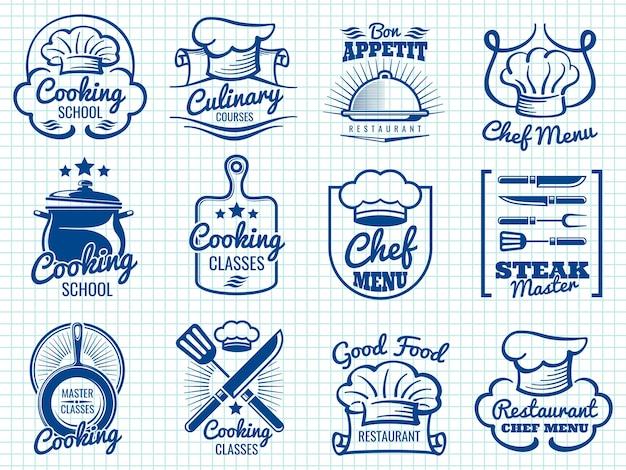 Retro- aufklebersammlung des chefs Premium Vektoren